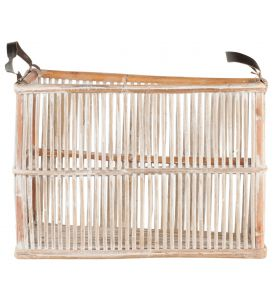Rattan basket with leather handle