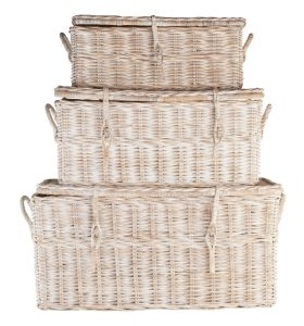 Rattan basket square with lid, 3 set
